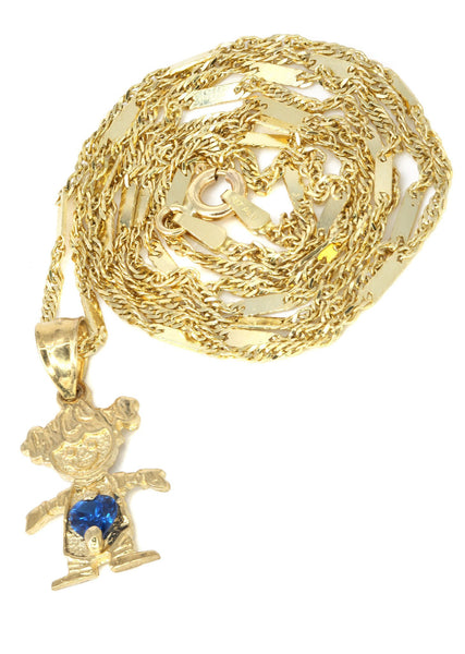 10K Yellow Gold Fancy Link Chain & Cz Children Pendant | Appx. 3.8 Grams