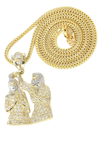 10K Yellow Gold Franco Chain & Cz Jesus Piece Chain | Appx. 15.3 Grams