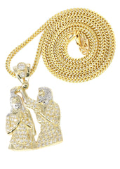 10K Yellow Gold Franco Chain & Cz Jesus Piece Chain | Appx. 15.3 Grams chain & pendant FROST NYC