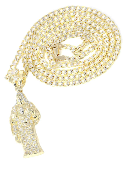 10K Yellow Gold Pave Cuban Chain & Cz Jesus Piece Chain | Appx. 9.8 Grams