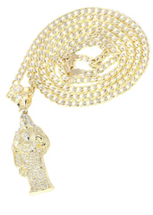 10K Yellow Gold Pave Cuban Chain & Cz Jesus Piece Chain | Appx. 9.8 Grams chain & pendant FROST NYC
