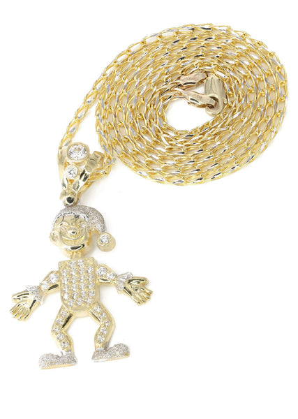 10K Yellow Gold Fancy Link Chain & Cz Children Pendant | Appx. 12.8 Grams