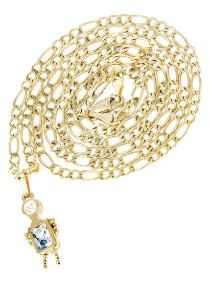 10K Yellow Gold Figaro Chain & Cz Children Pendant | Appx. 5.8 Grams