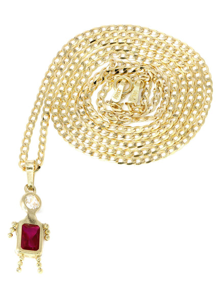 10K Yellow Gold Cuban Chain & Cz Children Pendant | Appx. 3.8 Grams