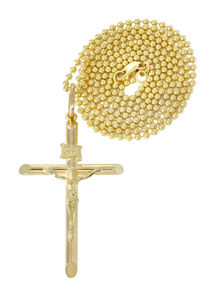 10K Yellow Gold Dog Tag Chain & Gold Cross Necklace | Appx. 9.1 Grams