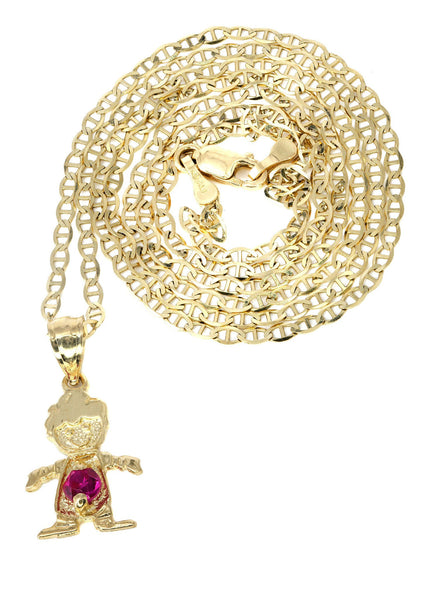 10K Yellow Gold Mariner Chain & Cz Children Pendant | Appx. 3 Grams