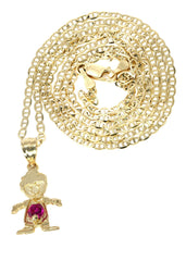 10K Yellow Gold Mariner Chain & Cz Children Pendant | Appx. 3 Grams chain & pendant FROST NYC