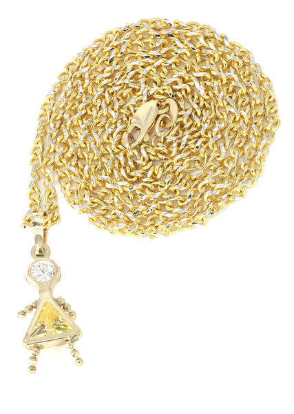 10K Yellow Gold Fancy Link Chain & Cz Children Pendant | Appx. 7.8 Grams