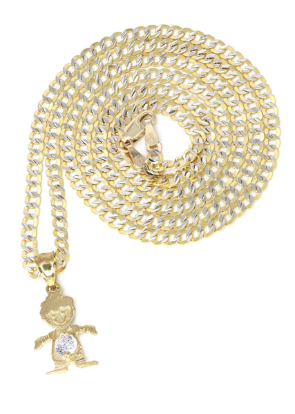 10K Yellow Gold Pave Cuban Chain & Cz Children Pendant | Appx. 7.4 Grams