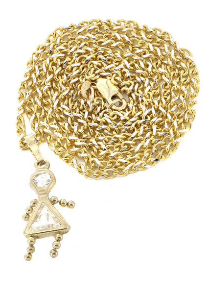 10K Yellow Gold Fancy Link Chain & Cz Children Pendant | Appx. 7.7 Grams