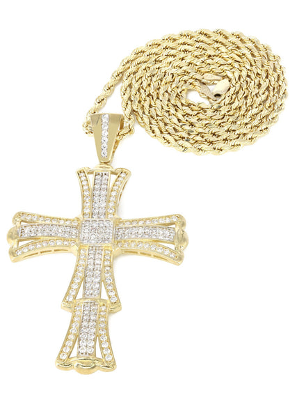10K Yellow Gold Rope Chain & Cz Gold Cross Necklace | Appx. 19 Grams