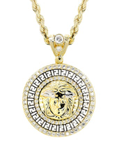 10K Yellow Gold Rope Chain & Versace Style Pendant | Appx. 15.7 Grams