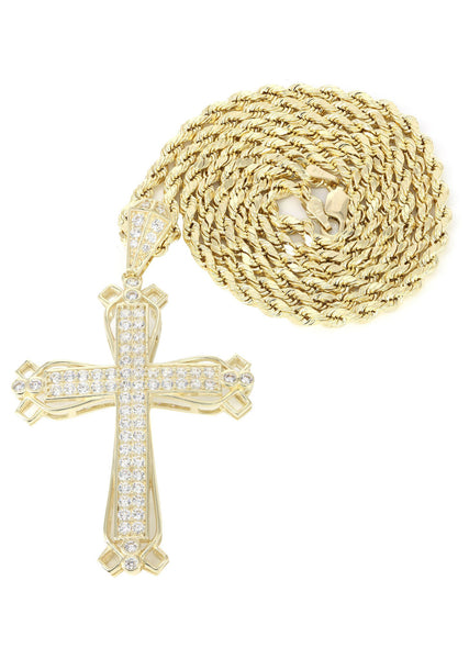 10K Yellow Gold Rope Chain & Cz Gold Cross Necklace | Appx. 14.3 Grams