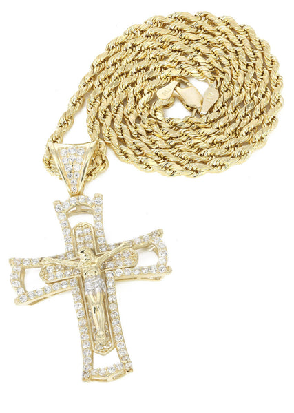 10K Yellow Gold Rope Chain & Cz Gold Cross Necklace | Appx. 11.2 Grams