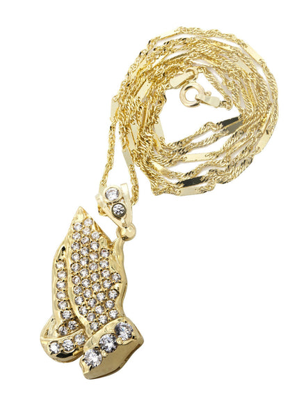 10K Yellow Gold Fancy Link Chain & Cz Praying Hands Pendnat | Appx. 9.1 Grams
