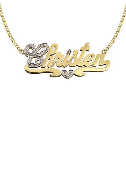 14K Ladies Two Tone Name Plate Necklace | Appx. 10.2 Grams