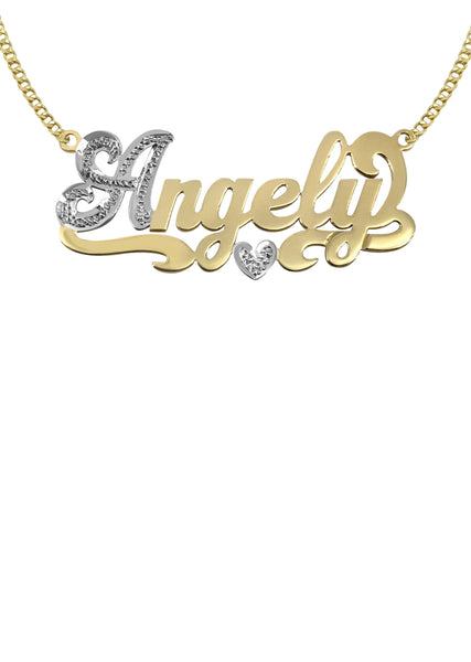 14K Ladies Two Tone Name Plate Necklace | Appx. 6.9 Grams