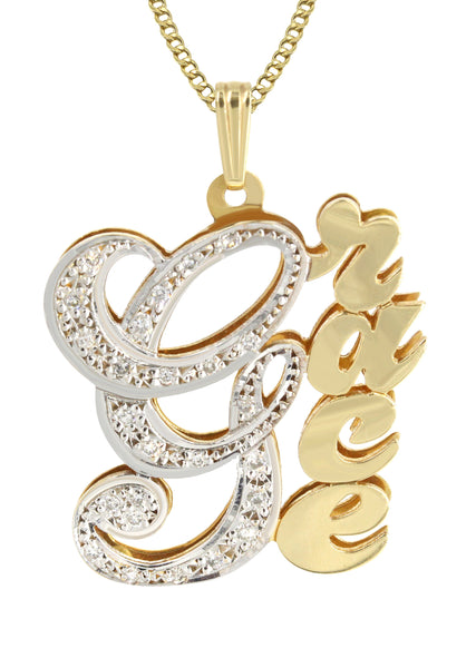 14K Ladies Two Tone with Diamonds Name Plate Necklace | Appx. 11.3 Grams