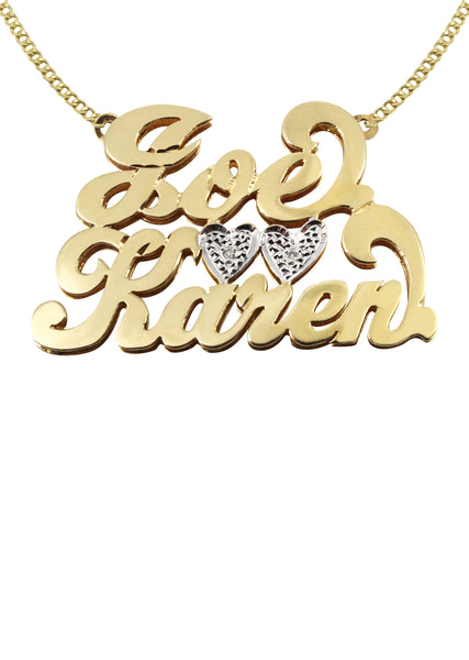 14K Ladies Couple Names Name Plate Necklace | Appx. 12 Grams