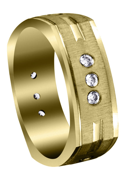 Yellow Gold Diamond Mens Wedding Band | 0.36 Carats | Cross Satin Finish (Tyson)