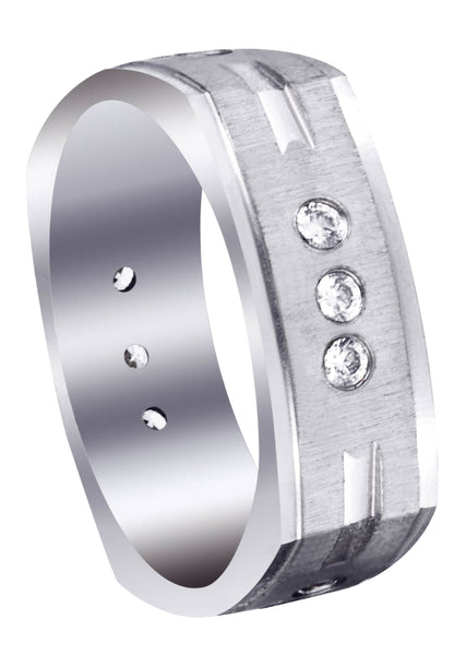 Diamond Mens Wedding Band | 0.36 Carats | Cross Satin Finish (Tyson)