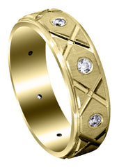Yellow Gold Classic Diamond Mens Wedding Band | 0.4 Carats (Cristian)