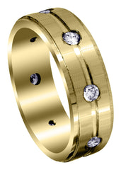 Yellow Gold Classic Diamond Mens Wedding Band | 0.56 Carats (Amari)