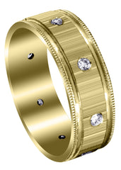 Yellow Gold Classic Diamond Mens Wedding Band | 0.4 Carats (Collin)