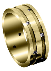 Yellow Gold Classic Diamond Mens Wedding Band | 0.36 Carats (Damien)