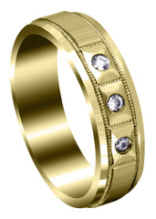 Yellow Gold Classic Diamond Mens Wedding Band | 0.09 Carats (Zander)