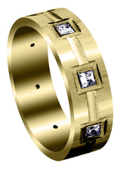 Yellow Gold Classic Diamond Mens Wedding Band | 0.4 Carats (Kameron)
