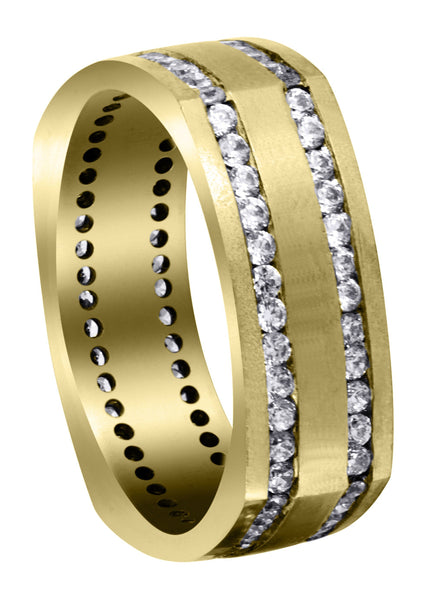 Yellow Gold Diamond Mens Wedding Band | 1.44 Carats | Satin Finish (Cruz)