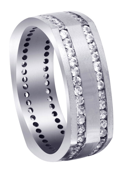 Diamond Mens Wedding Band | 1.44 Carats | Satin Finish (Cruz)