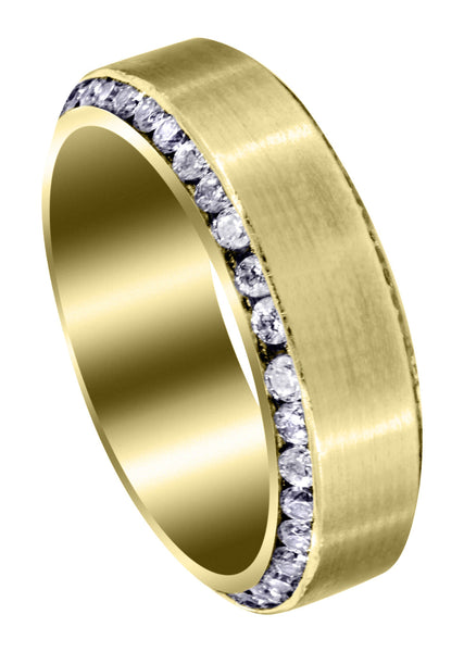 Yellow Gold Classic Diamond Mens Wedding Band | 2.1 Carats (Rylan)
