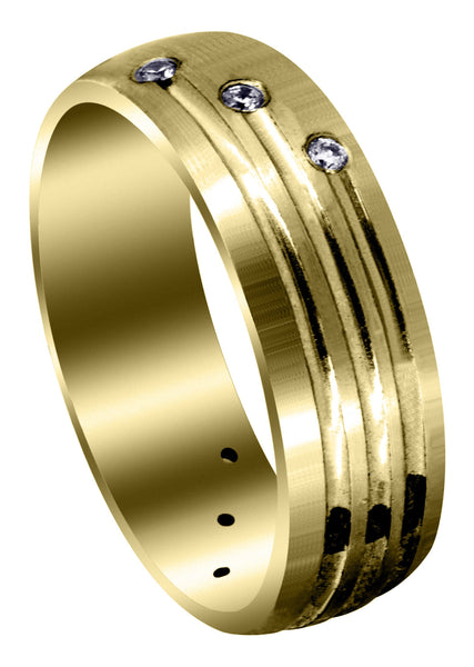 Yellow Gold Classic Diamond Mens Wedding Band | 0.12 Carats (Gunner)