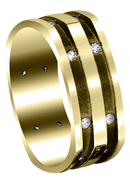 Yellow Gold Diamond Mens Wedding Band | 0.32 Carats | Sand Blast / High Polish Finish (Dalton)