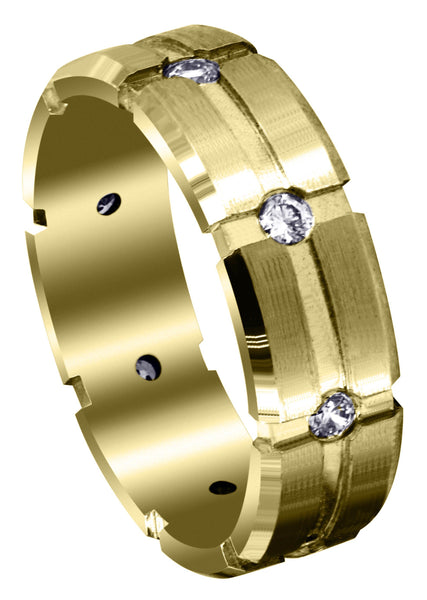 Yellow Gold Classic Diamond Mens Wedding Band | 0.4 Carats (Andres)