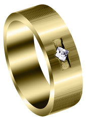 Yellow Gold Classic Diamond Mens Wedding Band | 0.1 Carats (Javier)