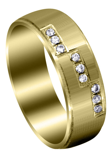 Yellow Gold Classic Diamond Mens Wedding Band | 0.135 Carats (Dawson)