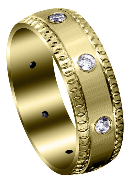Yellow Gold Classic Diamond Mens Wedding Band | 0.4 Carats (Gage)