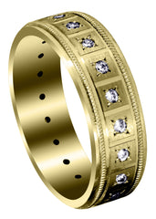 Yellow Gold Classic Diamond Mens Wedding Band | 0.4 Carats (River)