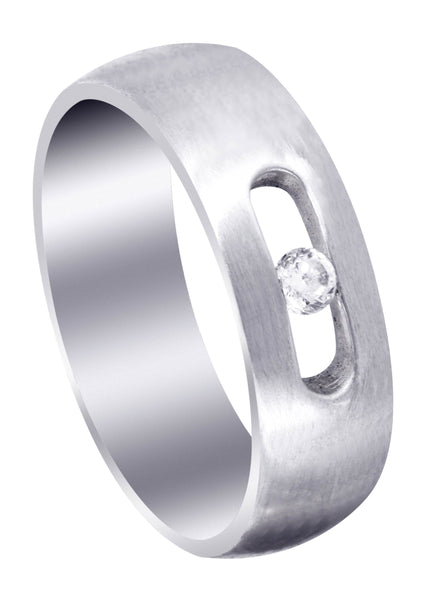 Diamond Mens Wedding Band | 0.1 Carats | Satin Finish (Jett)
