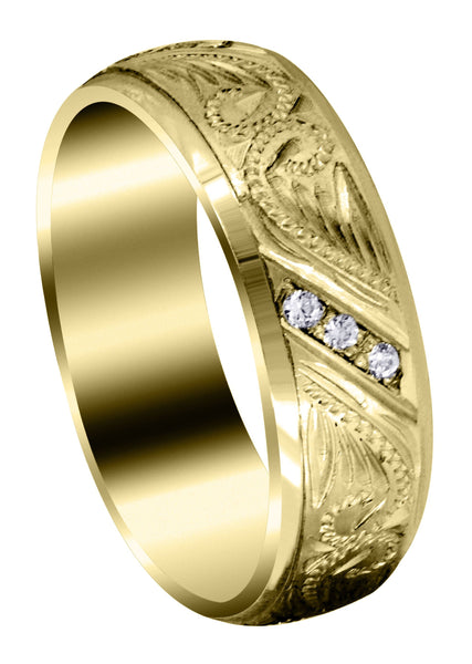 Yellow Gold Diamond Mens Wedding Band | 0.18 Carats | Satin Finish (Kyrie)