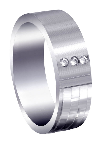 Diamond Mens Wedding Band | 0.06 Carats | Satin Finish (Lane)