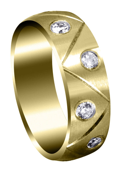 Yellow Gold Diamond Mens Wedding Band | 1 Carats | Satin Finish (Milo)