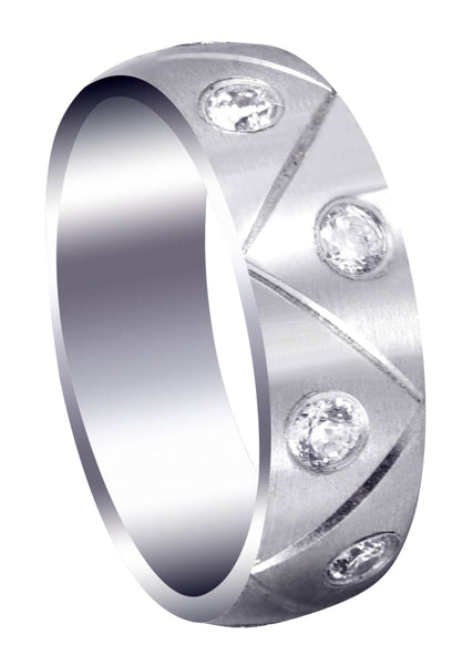 Diamond Mens Wedding Band | 1 Carats | Satin Finish (Milo)