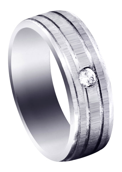 Diamond Mens Engagement Ring | 0.12 Carats | Cross Satin Finish (Kyler)