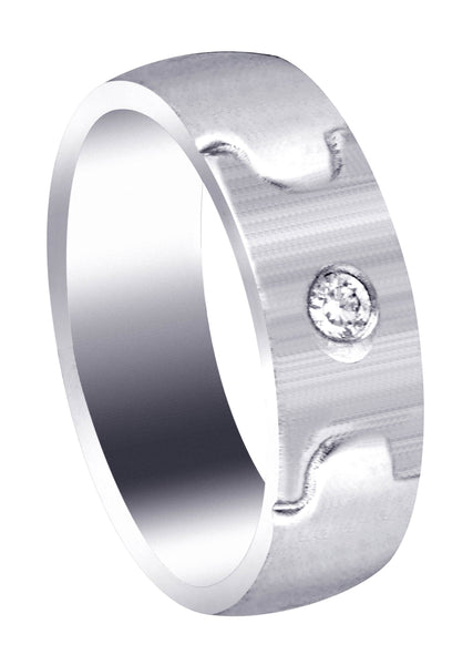Diamond Mens Wedding Band | 0.07 Carats | Cross Satin Finish (Caiden)