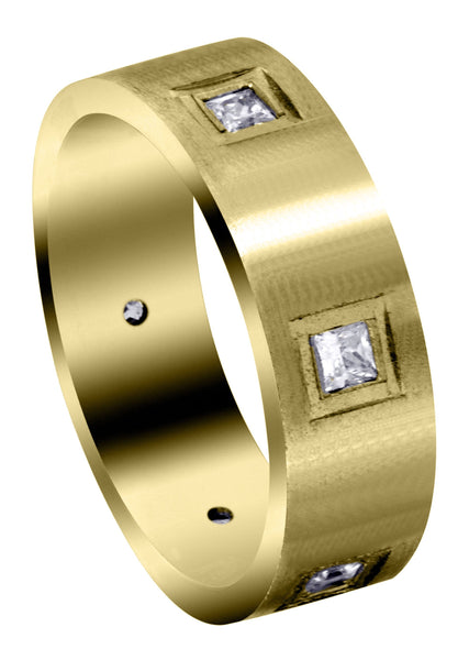 Yellow Gold Diamond Mens Engagement Ring | 0.6 Carats | Satin Finish (Jaylen)