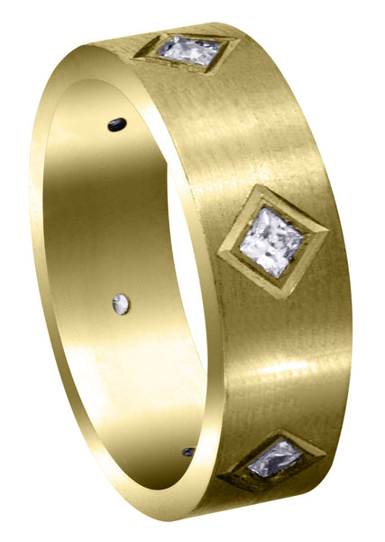 Yellow Gold Diamond Mens Wedding Band | 0.6 Carats | Satin Finish (Titus)